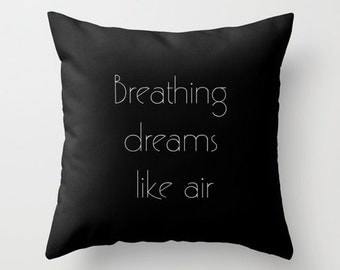 Velveteen Pillow - Great Gatsby - Breathing Dreams Like Air - Art Deco - Great Gatsby Pillow - Art Deco Decor - Pillow Quote - Typography