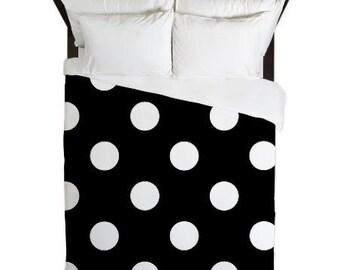 Duvet Cover - Black and White Polka Dots - Polka Dot Duvet Cover - Dorm Duvet Cover - Teen Bedding - Girls Bedding - Girls Duvet Cover