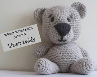 Pattern-Linen the teddy bear, crochet amigurumi, crocheted toy pattern, teddy bear