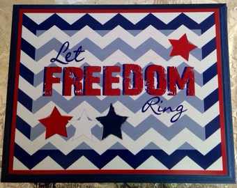 Let Freedom Ring Wood Canvas Plaque