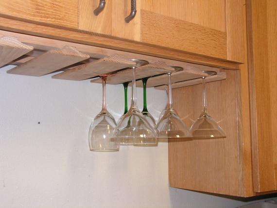 Verre vin rack sous armoire neuf verres pied ch ne porte - Porte verre suspendu bar ...