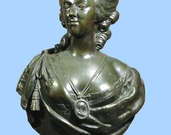 "Large Bronze Bust Of MARIE ANTOINETTE 34"" By Felix Lecomte"