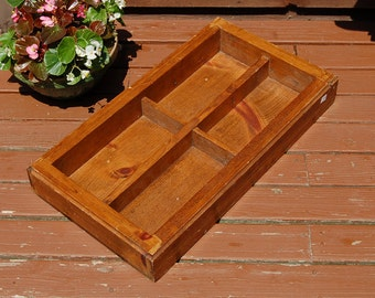 Heavy Wooden Compartment Box, Vintage Divided Storage Box