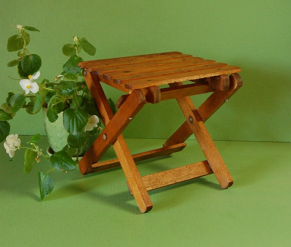 Vintage Small Wooden Folding Table Mini Folding Plant Stand