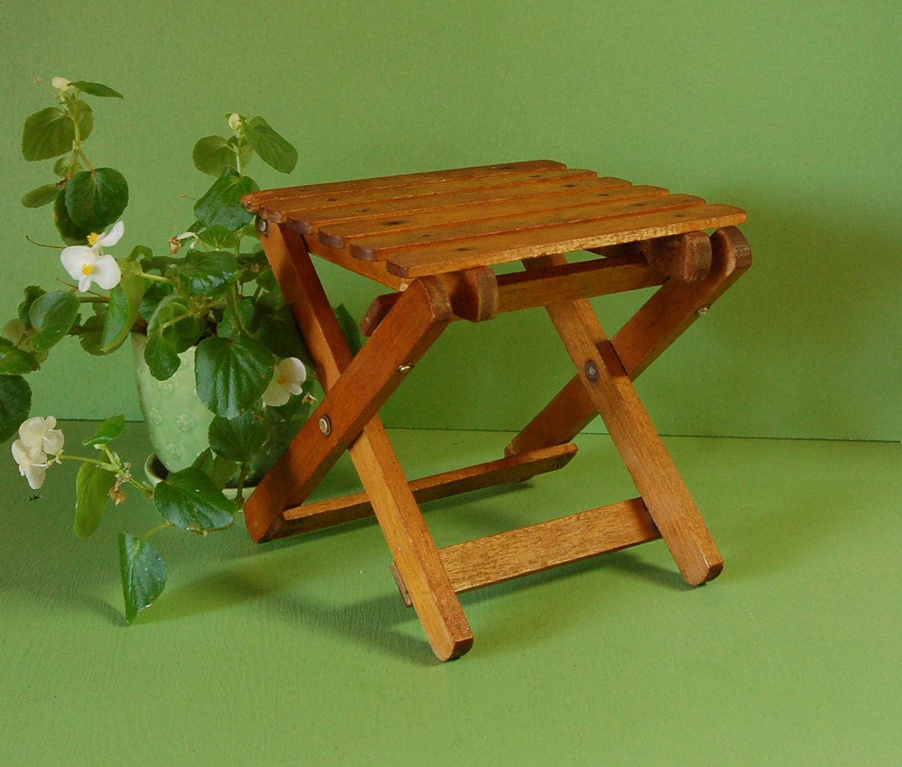 Vintage small wooden folding table mini plant stand