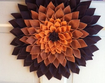 Felt door decor in different shades of brown- approximately 16x16 in diameter