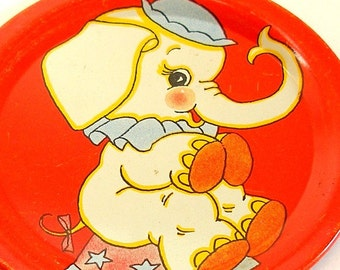 Circus Elephant, Vintage 1940's tin toy tea plate with lithograph.