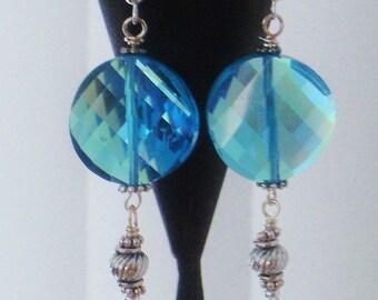 Blue Crystal Coin Earrings