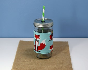 Mason Jar Tumbler 24 oz | Mason Jar To Go Cup | BPA Free Lid and Straw | Free Personalization | Fox Fabric
