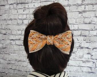 Yellow Woolen Fabric Hair Bow  Alligator / Barrette For Girls