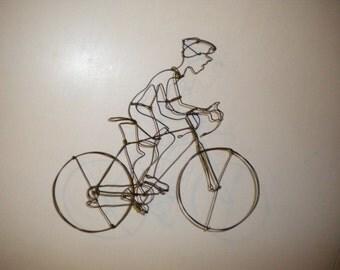Cyclist-3-D steel wire sculpture