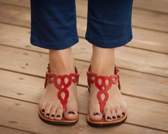 Red Leather Sandals, Red Sandals, Flat Sandals, Summer Shoes , Free Shipping