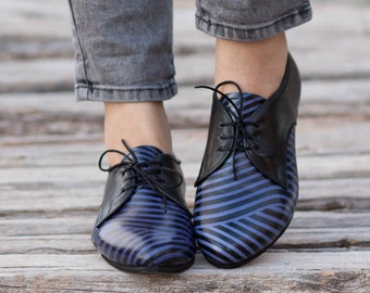 Leather Shoes, Printed Oxford Shoes, Close Shoes, Flat Shoes, Blue Shoes , Free Shipping