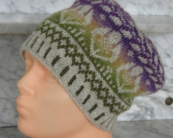 Fair Isle Hat , made in all natural wool.