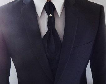 Mens Ascot Black Paisley Crystal Pinned Adjustable Neck Mens Formal Ascot