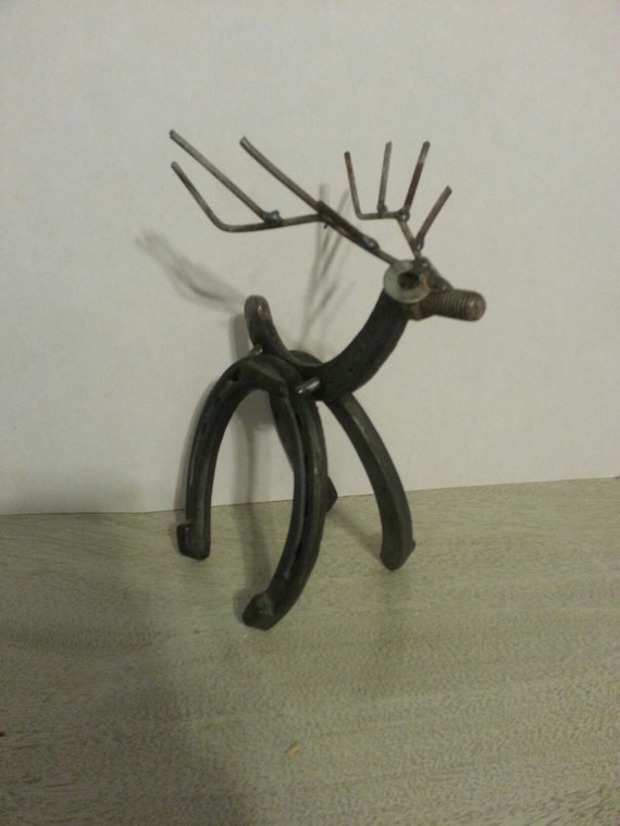 Items similar to santa 39 s reindeer on etsy for Christmas tree made out of horseshoes
