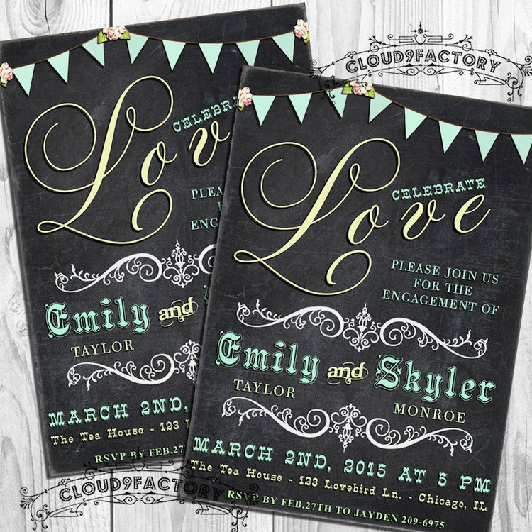 Chalkboard Engagement Party Invitation Printable By