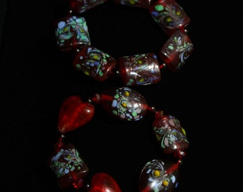 Red Lampwork Glass bracelet