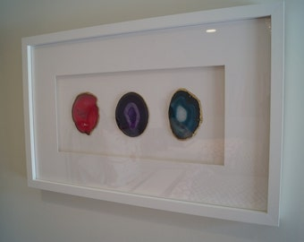 gorgeous triptych 3 agate slices framed together with white mat and frame they make a statement in any room can also do other colors