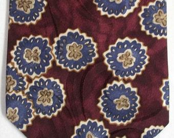 Oscar de la Renta Couture men's abstract designer silk neck tie USA