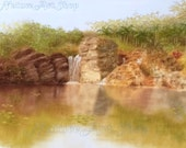 Original Pastel Drawing: Landscape drawing of Waterfall