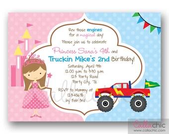 ... Joint / Split Birthday Party - Boy Girl - Sibling Birthday Invitation