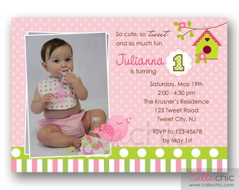 Bird 1st Birthday Invitation PRINTABLE (with Photo) - Pink Green / Pink Turquoise Teak