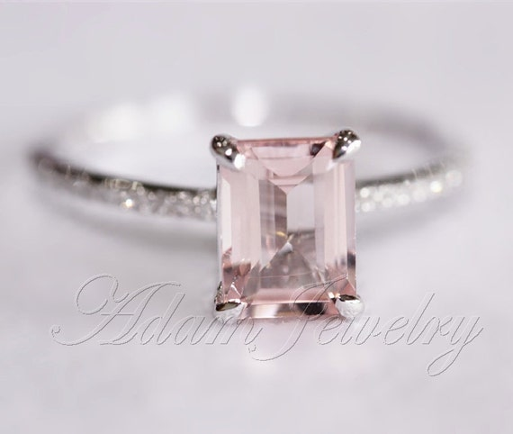 light pink emerald cut vs morganite ring by adamjewelry