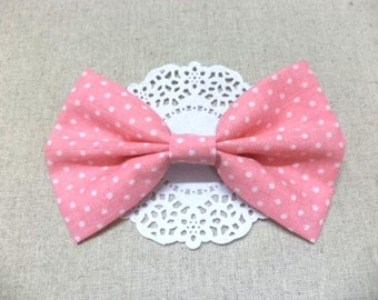 Pink polka dot hair bow, polka dot hair bow, pink fabric hair bow, cute hair bow, pink hair bow, big hair bow, sweet, lovely, cute, girly