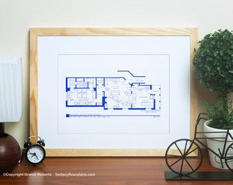 I Love Lucy Apartment Floor Plan - TV Show Floor Plan - BluePrint Poster Art for 1st NYC Residence of Lucy and Ricky Ricardo
