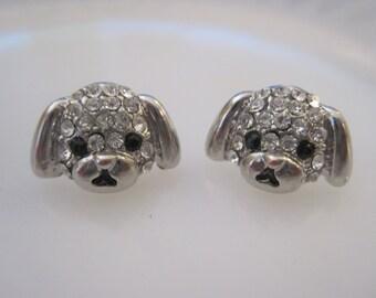 Silver Dog Earrings - Stud Earrings - Rhinestone Puppy Earrings - Puppy Earrings - Animal Jewelry - Puppy Jewelry