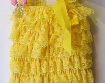Yellow Lace  Romper,  Romper Newborn ,Romper Baby Romper Baby Girl Romper, Photography Prop