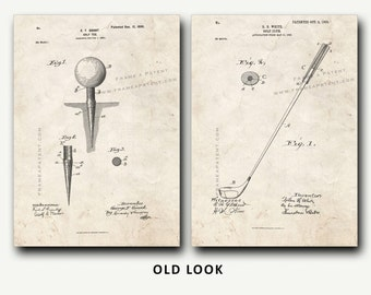 Patent Print - Golf Tee and Golf Club Patent Set - Golf Wall Art Poster