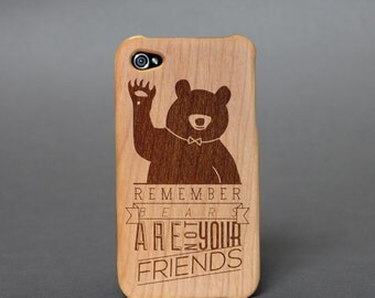 Hull wooden box engraved for iPhone 4 / 4 S - Bear