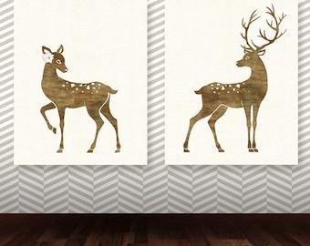 Deer Art Print, Set fo two Deer printable, Nursery Decor, INSTANT DOWNLOAD deer nursery print, deer couple, printable set, deer print