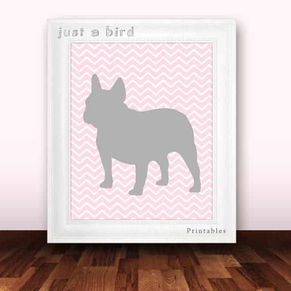 Französische Bulldogge-Kunstdruck pink Rosa von Justabirdprintables
