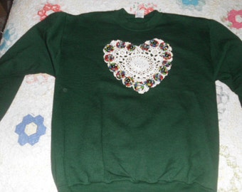 Dark Green Sweatshirt with Doily and Yoyos