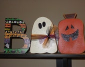 Halloween decor, Fall decor, BOO w/ghost and jack o' lantern