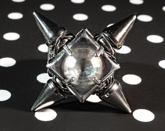 Crystal and Spike ring, handmade jewelry, girlie punk, unique, rocker chic