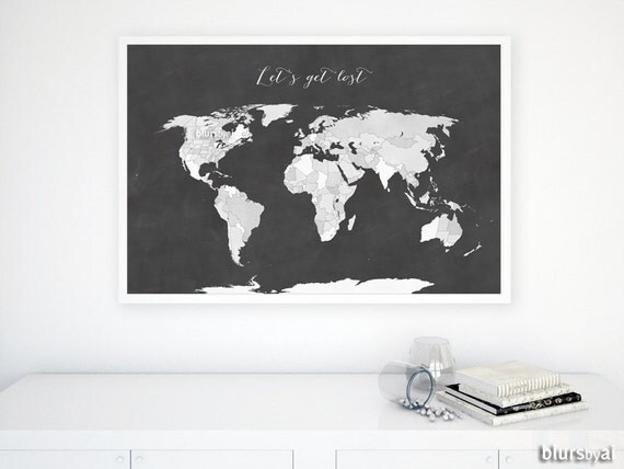 36x24 printable world map with us states black white world 36x24 printable world map with us states black white world map chalkboard map diy travel pinboard map gift for him map137 012 gumiabroncs Choice Image