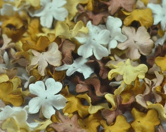 50 Pieces Mulberry Paper Mini Petal Die Cut Flowers Brown Tone Color Small Size 2 cm/ 0.8 inch for Crafts, Scrapbooking and embelishment