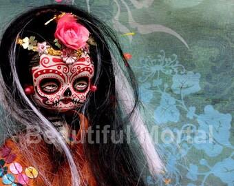Beautiful Mortal Dia De Los Muertos Tattooed Doll Doll PRINT 330 Reproduction