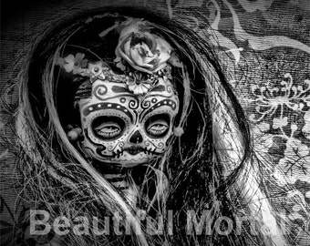 Beautiful Mortal Dia De Los Muertos Sugar Skull Doll PRINT 555 by Michael Brown