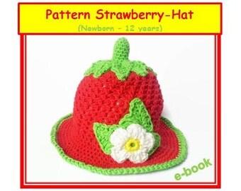 Newborn Strawberry Hat Crochet Pattern : Hat pattern crochet strawberry Etsy