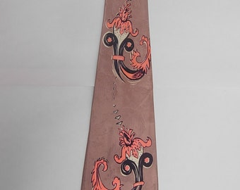Vibrant 1940s Satin Rayon Bold Swing Tie