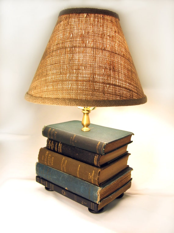 Book Lamp Antique Upcycled Books Burlap Lamp Shade