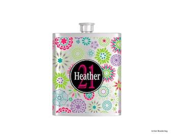 Green Purple Pink Blue Pattern Birthday Flask By Bottoms Up Flasks  - Stainless Steel 8 oz Liquor Hip Flasks - Flask #303