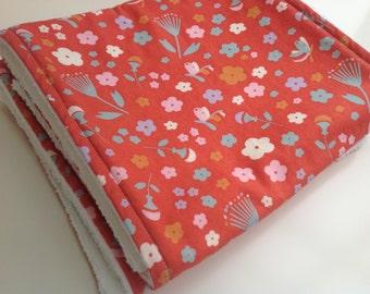 Burp cloths - Pink floral burp cloths - Baby girl burp cloths - Modern organic baby burp cloths - Set of 2 burp cloths - Flowers burp cloths