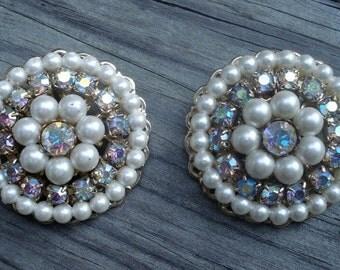 Coro Earrings Rhinestones Faux Pearls Costume Jewelry Gold Tone Clip Backs 01207