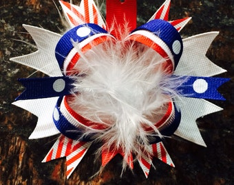 Memorial Day...4th of July...Patriotic...red, white and blue bow